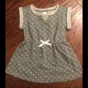 Cat & Jack Dress 18-24 Mo Grey White Hearts Dress